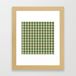 Plaid Pattern in Green and Beige Framed Art Print