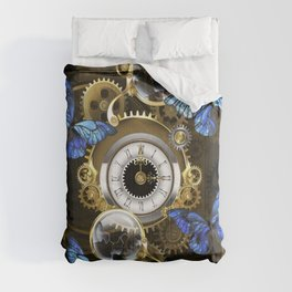 Steampunk Gears and Blue Butterflies Comforters