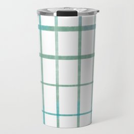 Green grid minimalist pattern Travel Mug