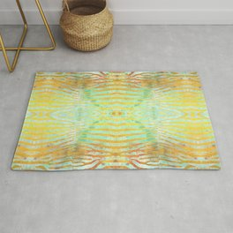 Zebra Stripes | Celadon & Gold | Watercolor Animal Print Art Rug