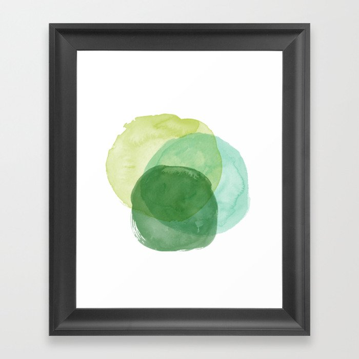 Abstract Organic Watercolor Shapes Painting in Green Gerahmter Kunstdruck