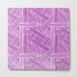 Sketchy Abstract (White & Purple Pattern) Metal Print