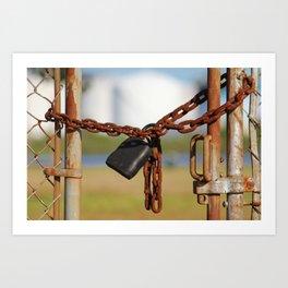 Rusty Chain With Padlock Art Print