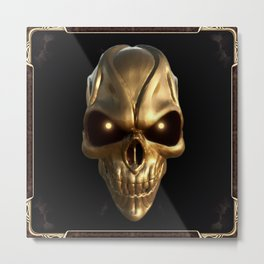 Skull with glowing golden eyes Metal Print