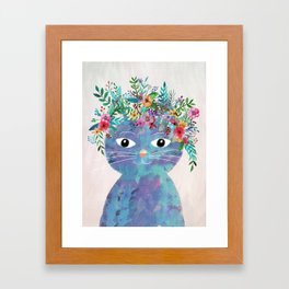 Flower cat II Framed Art Print