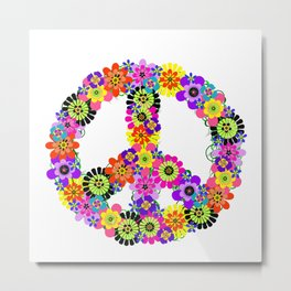 Peace Sign of Flowers Metal Print