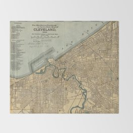 Vintage Map of Cleveland OH (1894) Throw Blanket