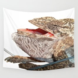 A Chameleon With Open Mouth Isolated Wall Tapestry