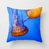 jelly fish Throw Pillows featuring Jelly Fish by World Photos by Paola