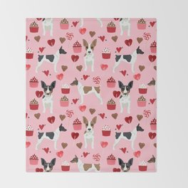 Rat Terrier valentines day cupcakes love hearts dog breed pet art dog pattern gifts unique pure bree Throw Blanket