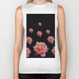 ROMANTIC ANTIQUE PINK ROSES ON BLACK Biker Tank