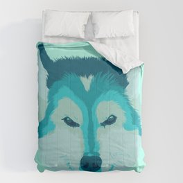 husky - teal Comforters