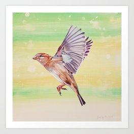 Magical House Sparrow painting Art Print