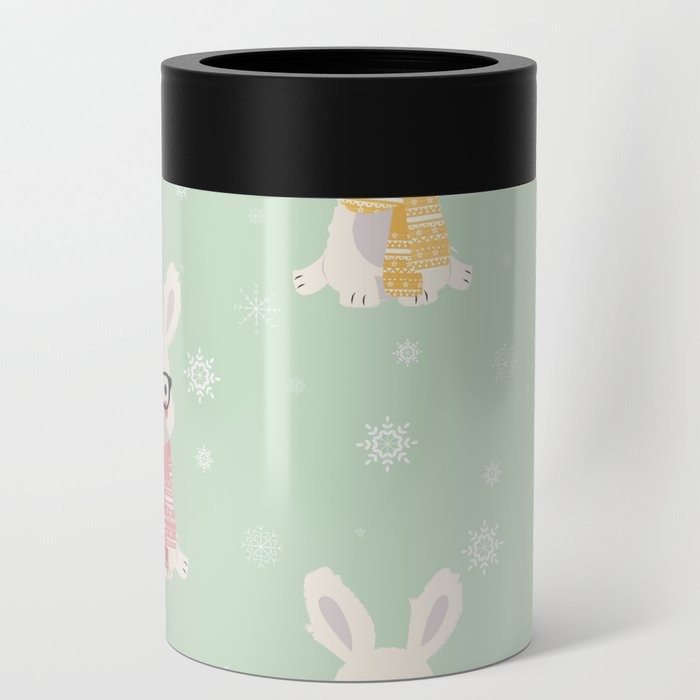 White rabbit Christmas pattern 001 Can Cooler