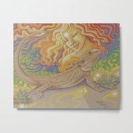 Sun And Dragon, Bearded Dragon Art Metal Print