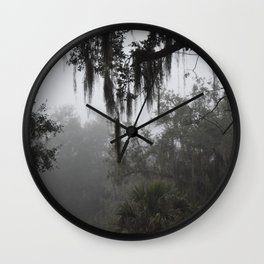 Fog in the trees Wall Clock