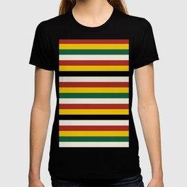 Bold Rustic Lodge Stripes Black Yellow Red Green T-shirt