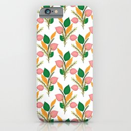 Cute Hand Paint Green Foliage Pink Design iPhone Case