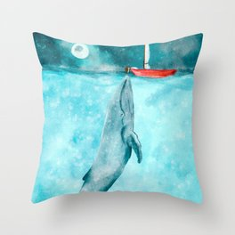 Whale illustration red boat Throw Pillow