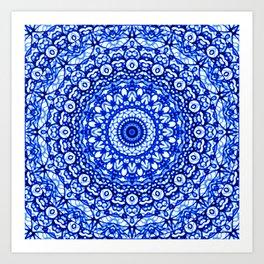 Blue Mandala Mehndi Style G403 Art Print