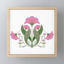 Folk art Spring flower garden Framed Mini Art Print