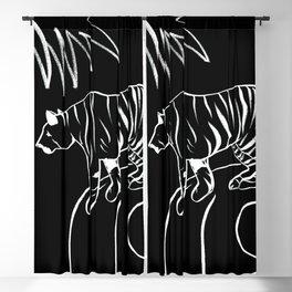 Tiger On The Rock - Black & White Palette Blackout Curtain