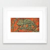 chameleon Framed Art Prints featuring Chameleon by Sherdeb Akadan