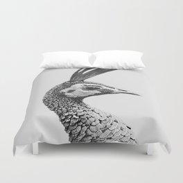 Peacockin' 1 black and white Duvet Cover