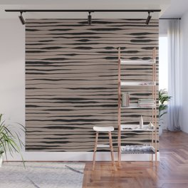 Hand Painted Lines / Dark Beige Wall Mural