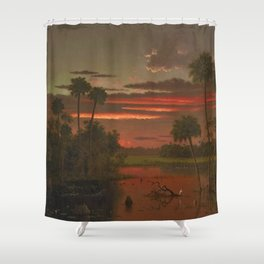 The Great Florida Sunset by Martin Johnson Heade Shower Curtain