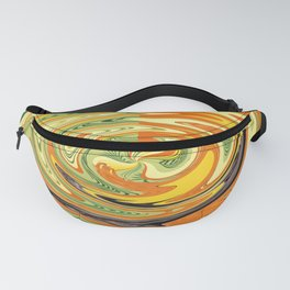 round marble design yellow Fanny Pack