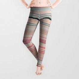 Pink Peach Pastel Stripe Design Leggings