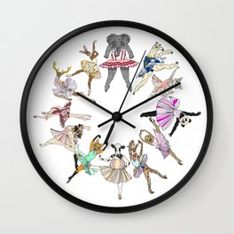 Animal Square Dance Hipster Ballerinas Wall Clock