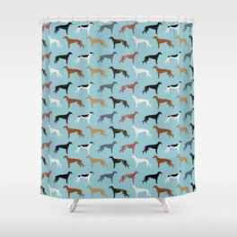 Greyhound Dog pet portrait dog lover must have gifts perfect christmas present for dog person Shower Curtain