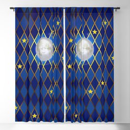 Moon & Stars - Midnight Blue Harlequin Blackout Curtain