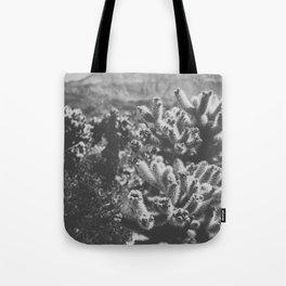 Chollo Cactus Garden (Black + White) Tote Bag