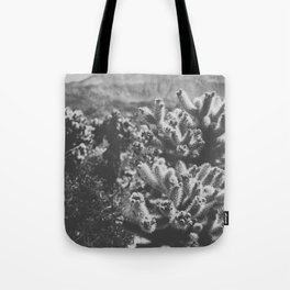 Chollo Cactus Garden (Black + White) Tote Bag