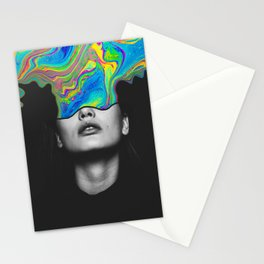 Mind Colors Black Rainbow Neon Portrait Photo Collage Stationery Cards