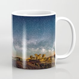 Panorama Bisti Badlands Hoodoos Under New Mexico Starry Night by OLena Art Coffee Mug