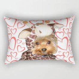 Dog Giraffe Costume | Yorkie with Hearts | Nadia Bonello Rectangular Pillow
