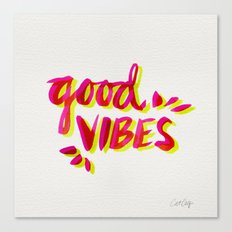 Good Vibes – Pink & Yellow Canvas Print