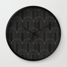 Art Deco Arch Pattern V - Black & White Wall Clock
