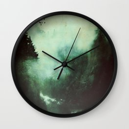 Morning dust on Mountains - Forest Wood Tree Wall Clock