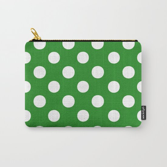 Polka Dots (White/Forest Green) Carry-All Pouch