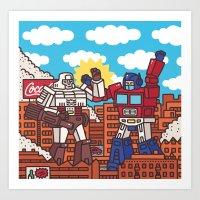 transformers Art Prints featuring Transformers by Zhenya Barsikestribu