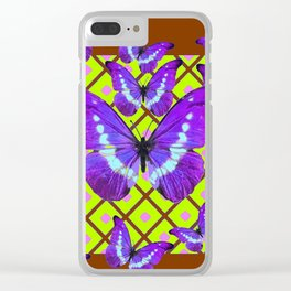 Migrating Purple Butterflies  on  Coffee Brown & Lime Color Pattern Clear iPhone Case