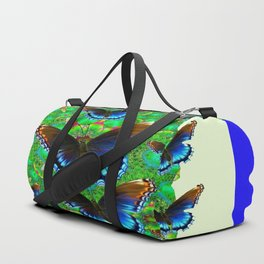 BLUE-BROWN BUTTERFLY GREEN ART Duffle Bag