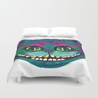mad hatter Duvet Covers featuring Mad as a Hatter by Samantha Petrin
