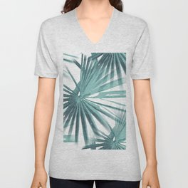 Teal Aqua Tropical Beach Palm Fan Vector Unisex V-Neck