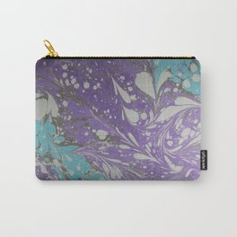 Violet Velocity Water Marbling Carry-All Pouch